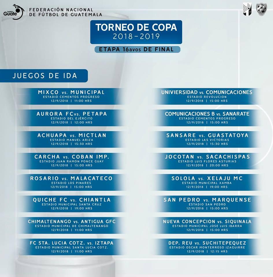 Calendario Primera Division Futbol Guatemala 2019.Detalles Del Torneo De Copa 2018 2019 En Guatemala