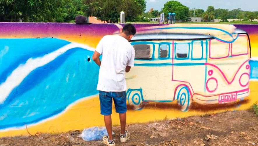 Artistas pintaron murales artísticos en Sipacate, Escuintla