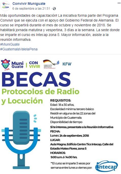 Convocatoria de becas para estudiar protocolos de radio y locución, 2018