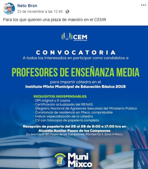 Buscan profesores para el Instituto Mixto Municipal de Educación Básica en Mixco, 2018