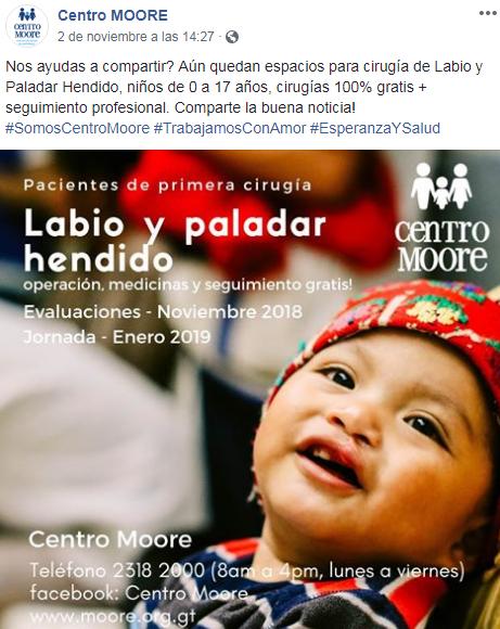 Cirugía gratuita de labio y paladar hendido para niños y adolescentes