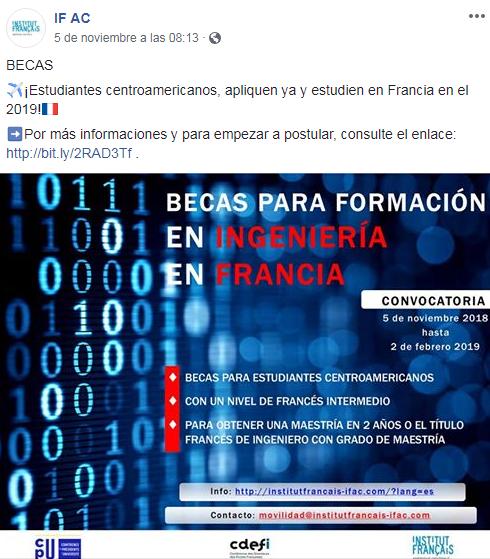 Convocatoria de becas de ingeniería en universidades de Francia, noviembre 2018