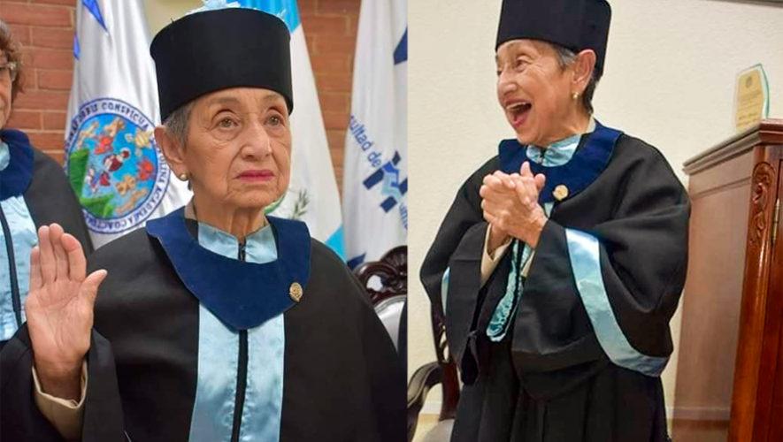 Doña Blanca Solares, de 92 años, se graduó de la Universidad de San Carlos