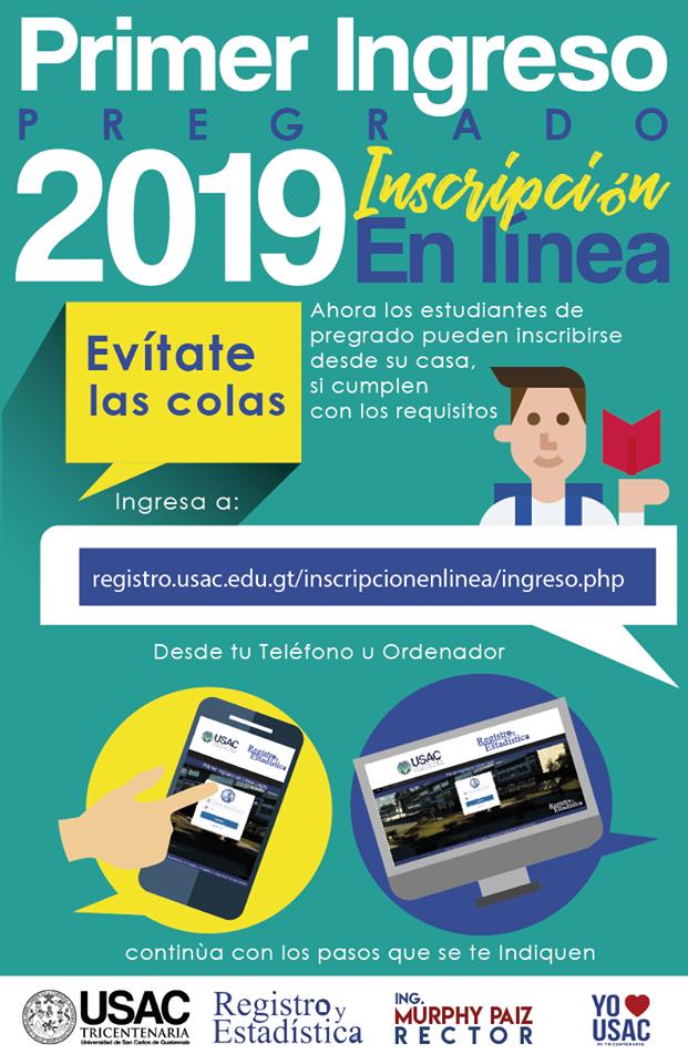 Inscripción en línea para estudiantes de primer ingreso, USAC 2019