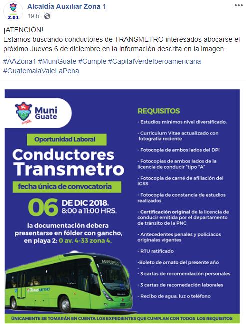 Municipalidad de Guatemala ofrece oportunidad de empleo para pilotos, diciembre 2018