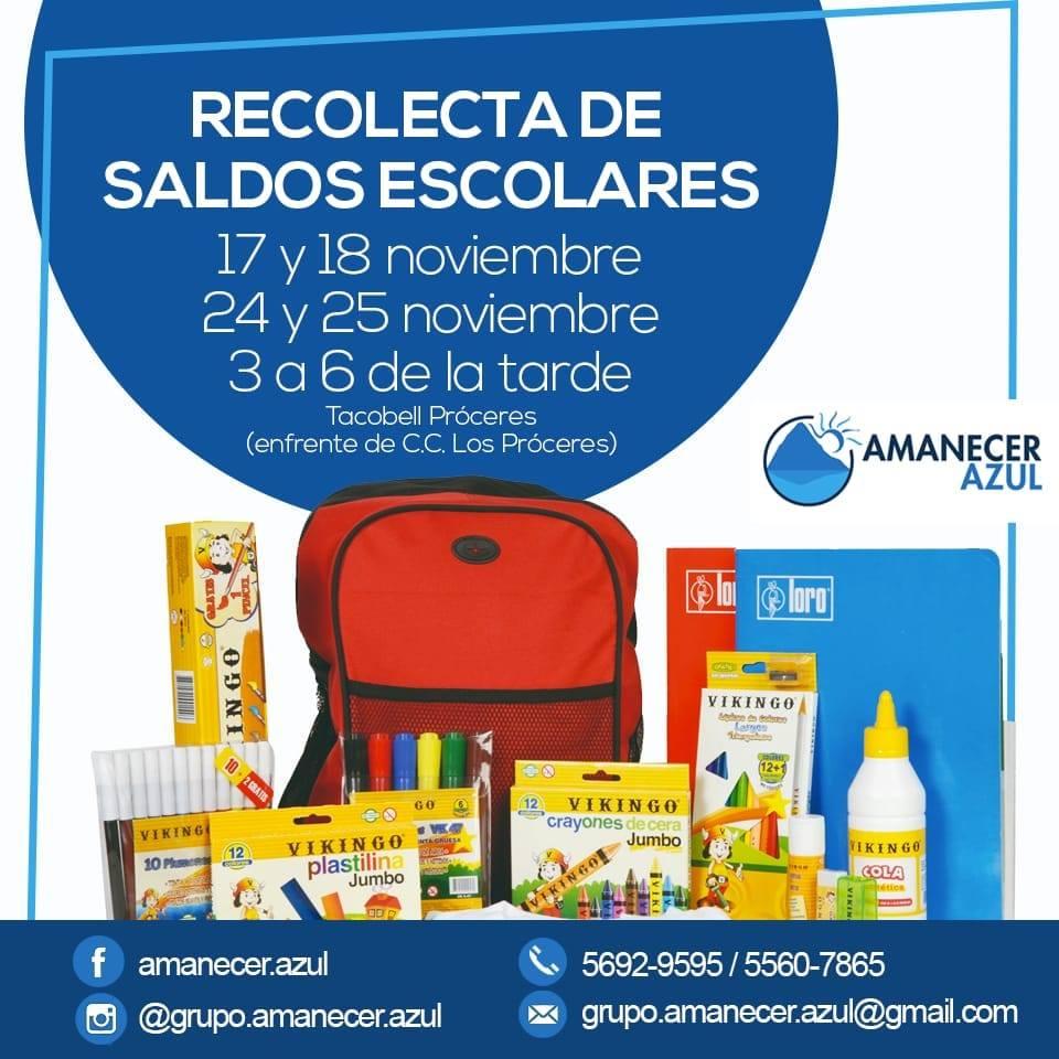 Recaudación de útiles escolares para los niños de escasos recursos de Amatitlán, 2018