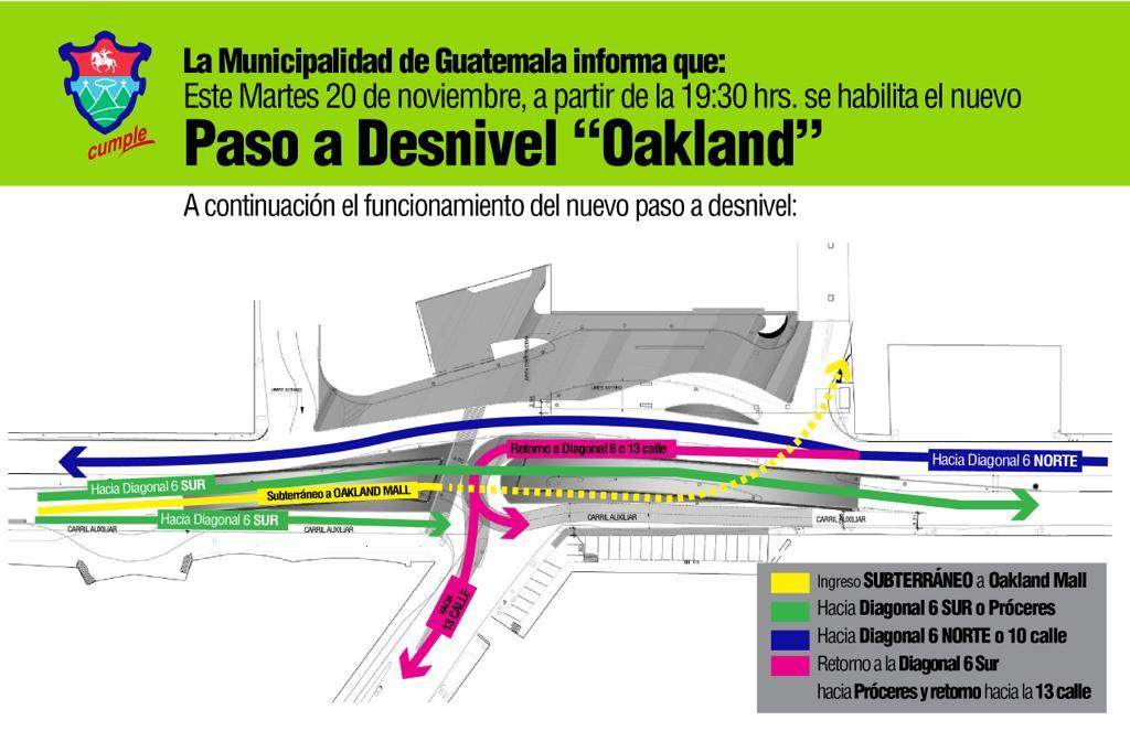 inauguración del paso a desnivel de la Diagonal 6 zona 10