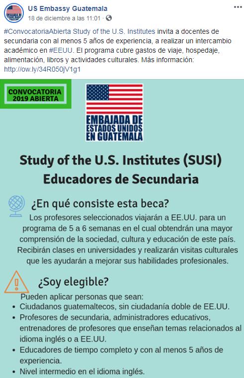 Convocatoria de becas completas para maestros de secundaria en Estados Unidos