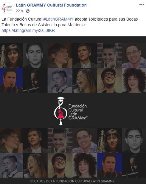 Convocatoria de becas para músicos de la Fundación Cultural Latin Grammy 2019