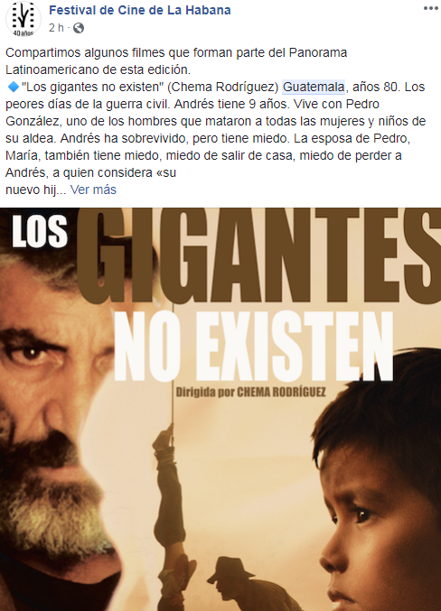 Películas guatemaltecas serán proyectadas en el Festival de Cine de La Habana 2018