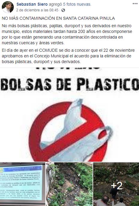 Santa Catarina Pinula ya no utilizará bolsas plásticas, pajillas y duroport