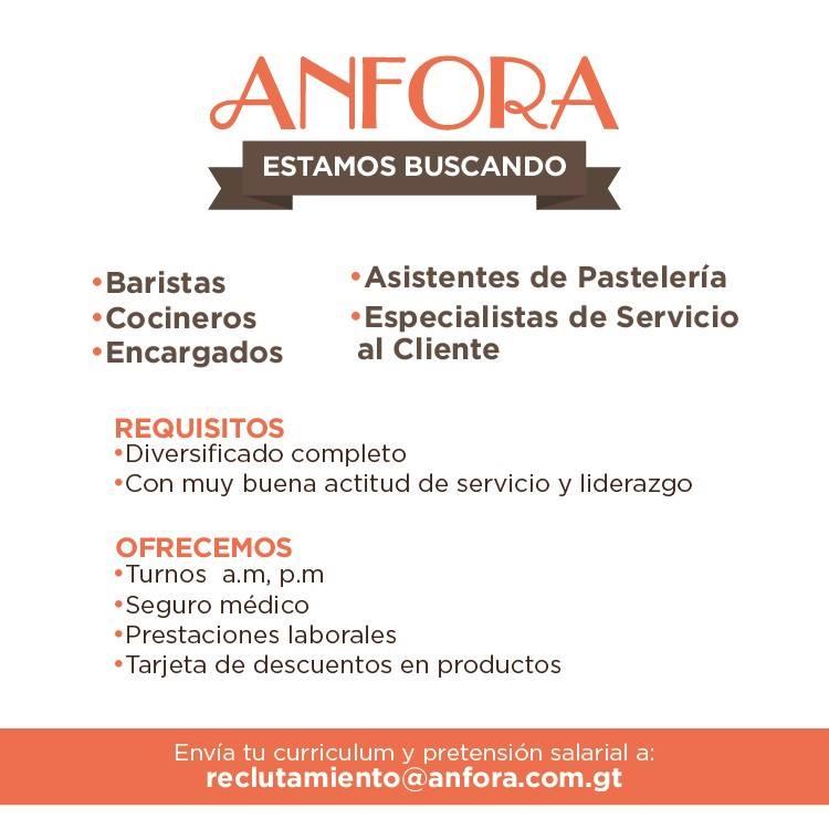 Anfora pastelería empleo Guatemala