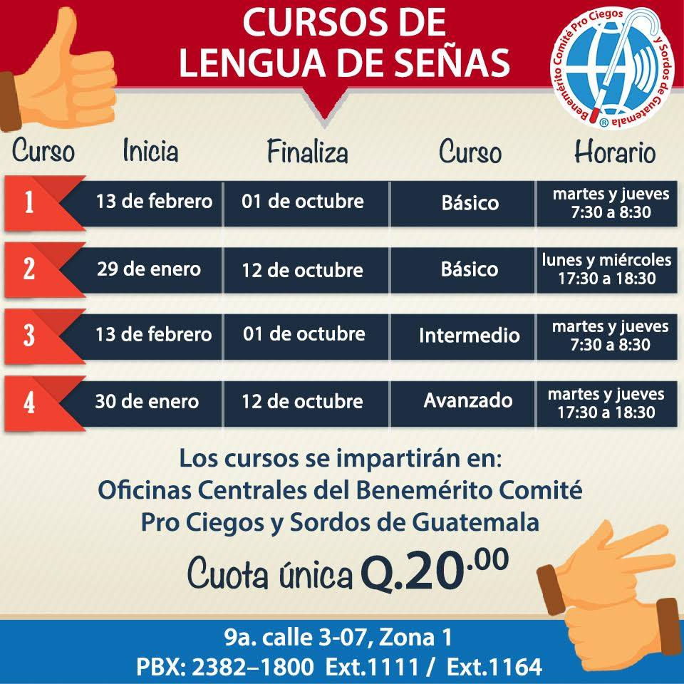 Cursos de lenguaje de señas a bajo costo en el Comité Pro Ciegos y Sordos de Guatemala