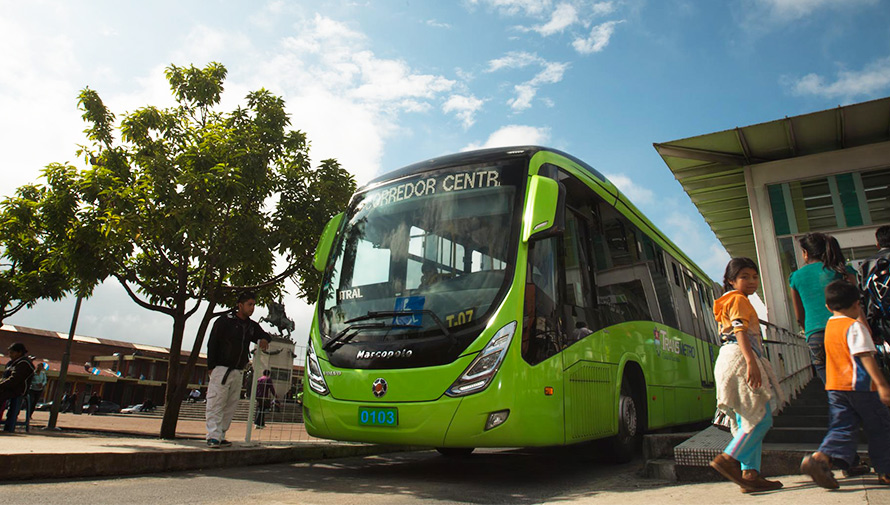 Las rutas del Transmetro en la Ciudad de Guatemala