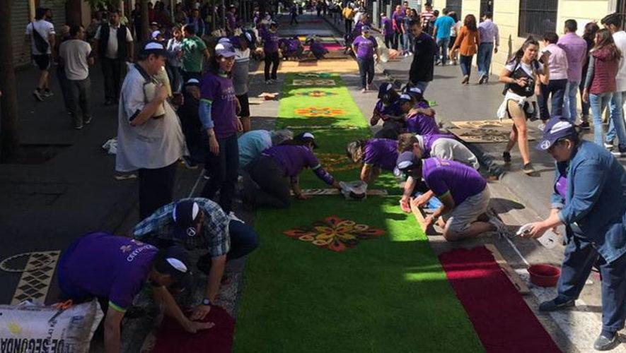Creación de alfombra en Paseo de la Sexta   Marzo 2018