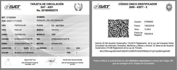 Distintivos electrónicos de vehículo en Guatemala pueden ser impresos
