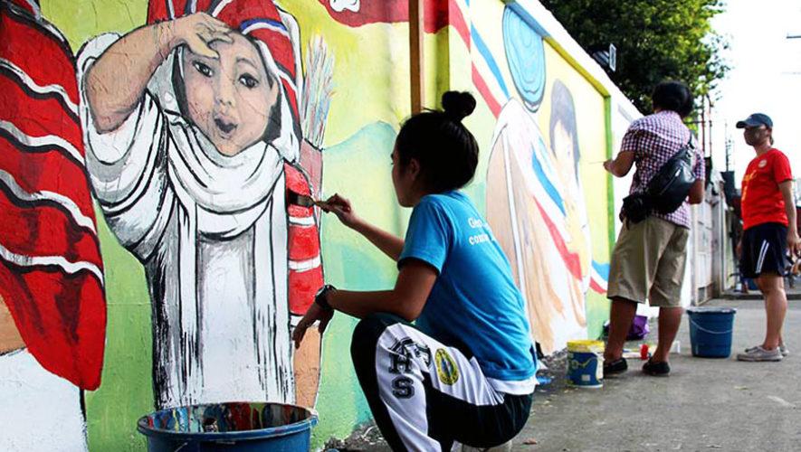 Actividad familiar para pintar murales en Fraijanes   Abril 2018