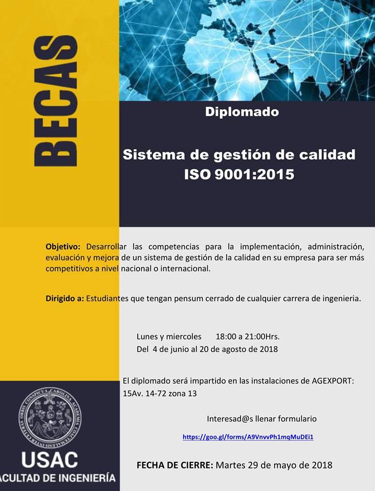 Becas completas para diplomado de Sistema de Gestión de Calidad ISO 9001 2015