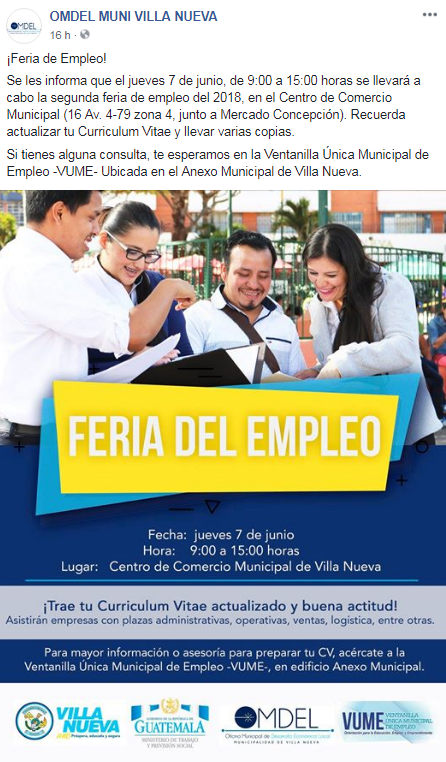 Feria De Empleo 2018 En El Centro De Comercio Municipal En Villa Nueva