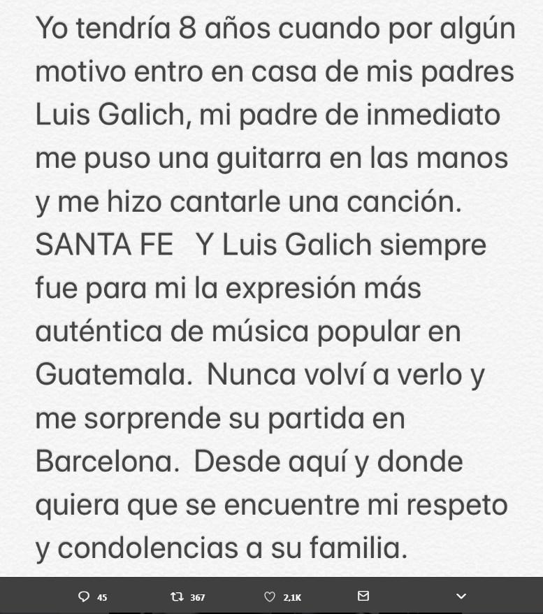 Ricardo Arjona recordó a Luis Galich con mensaje en redes sociales