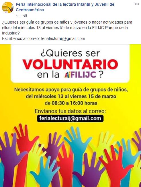 Buscan voluntarios para la Feria Internacional de la Lectura Infantil 2019 en Guatemala