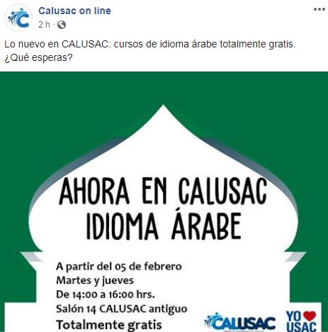 Inscripciones para el curso gratuito de idioma árabe en Calusac en 2019