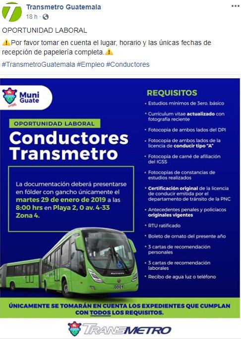 Municipalidad de Guatemala ofrece oportunidad de empleo para pilotos en enero 2019