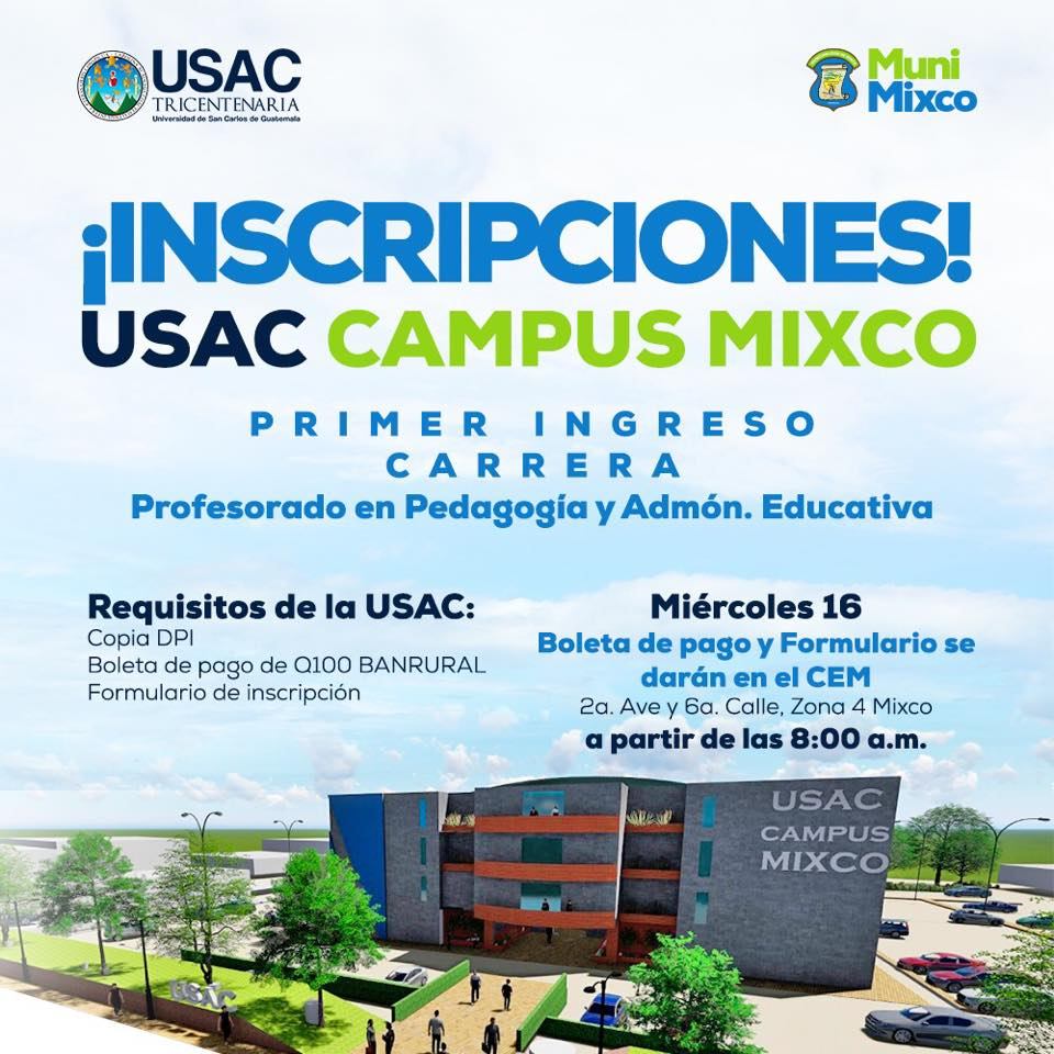 Requisitos para la inscripción en USAC Mixco