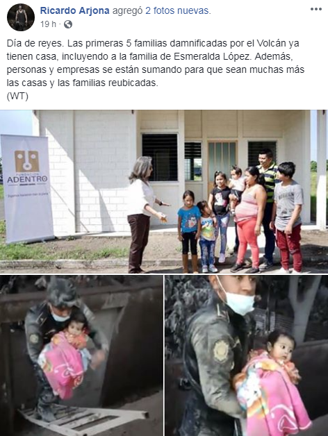 Ricardo Arjona entregó casas terminadas a familias afectadas por el Volcán de Fuego