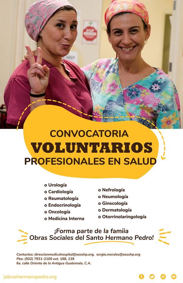 Convocatoria de voluntarios profesionales en salud en Antigua Guatemala para el 2019