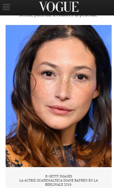 Diane Bathen, actriz de Temblores, fue destacada por la revista Vogue España