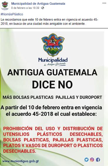 Entra en vigencia acuerdo que prohibe el uso de plásticos en Antigua Guatemala