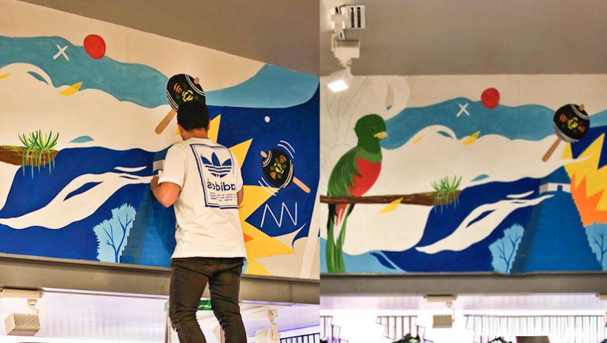 Adidas selecciona a artista guatemalteco para pintar mural en una de sus tiendas