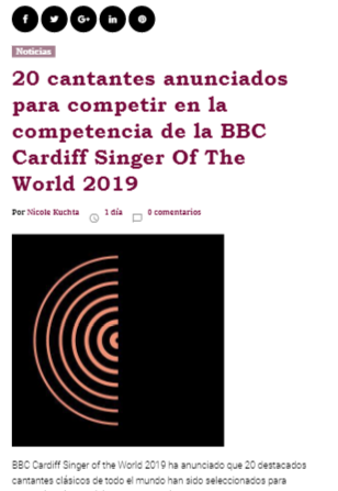 Adriana González representa a Guatemala en BBC Cardiff Singer Of The World 2019