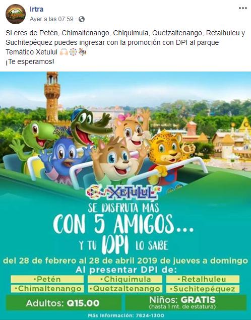 Cómo ingresar al Parque Xocomil con tu DPI en Marzo de 2019