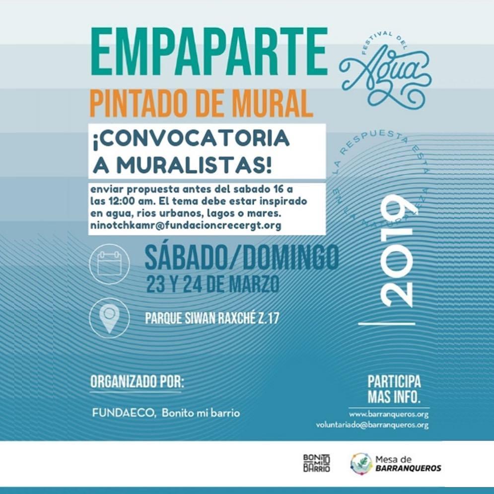 Convocatoria de artistas para el primer Festival del Agua 2019 en la Ciudad de Guatemala