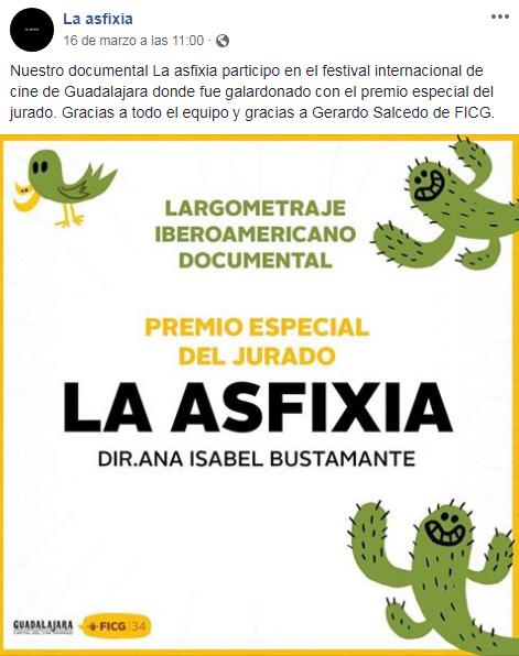El documental La Asfixia de Ana Bustamante ganó el premio Especial del Jurado 2019