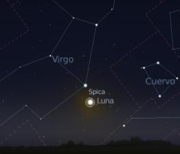 Fecha para ver la conjunción de la Luna y la estrella Spica desde Guatemala