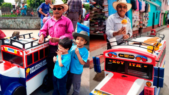 Guatemaltecos sorprenden con su carreta de helados con forma de camioneta
