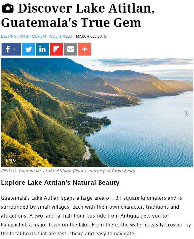 Lago de Atitlán es una verdera joya de Guatemala, según medio de viajes