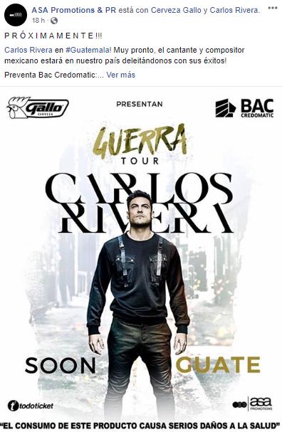 Concierto Carlos Rivera en Guatemala