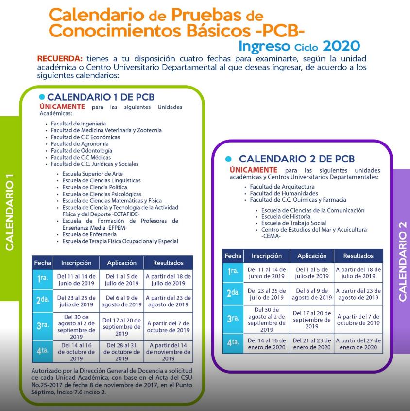 Calendario dePruebas de Conocimientos Básicos de la USAC