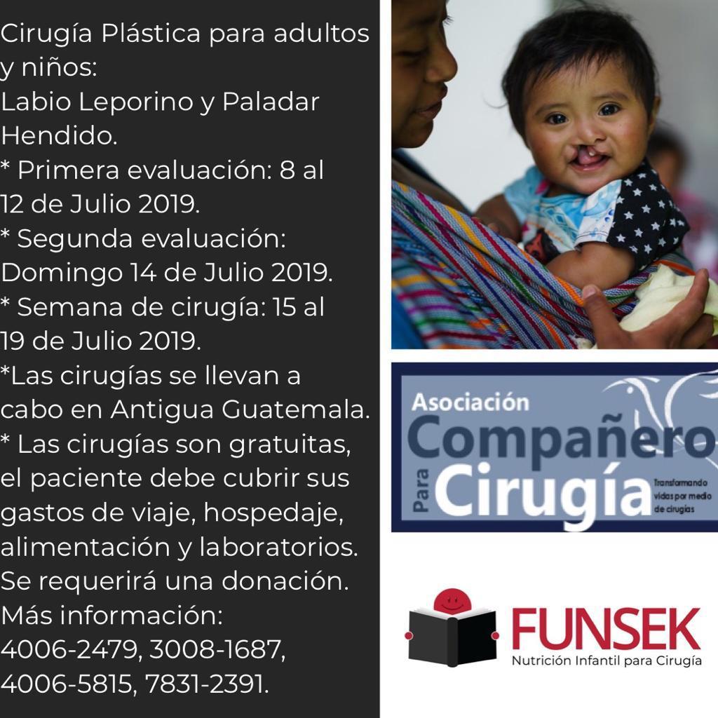 Cirugía plástica gratuita en Antigua Guatemala
