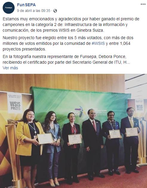 FUNSEPA ganó una de las categorías del premio WSIS Prize 2019 Champion en Suiza