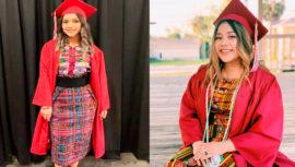 Originarias de Huehuetenango se gradúan en Estados Unidos con traje representativo guatemalteco