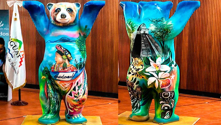 Osiel Martínez, originario de Sacatepéquez, pintó un nuevo Buddy Bear guatemalteco