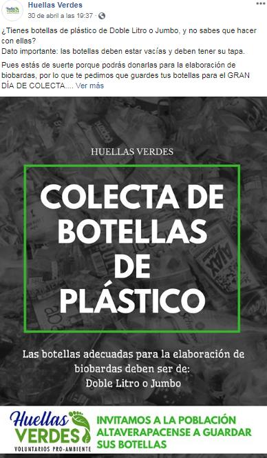 Recolectarán botellas de plástico para elaborar biobardas en Alta Verapaz