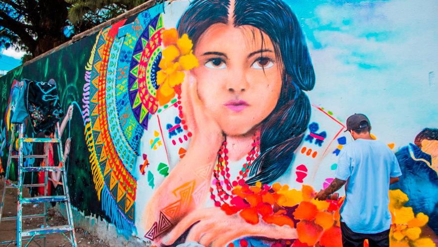 Artistas elaboraron coloridos murales en Santiago Sacatepéquez