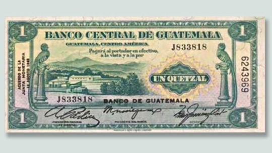 Cambios que ha tenido el billete de un quetzal, Guatemala
