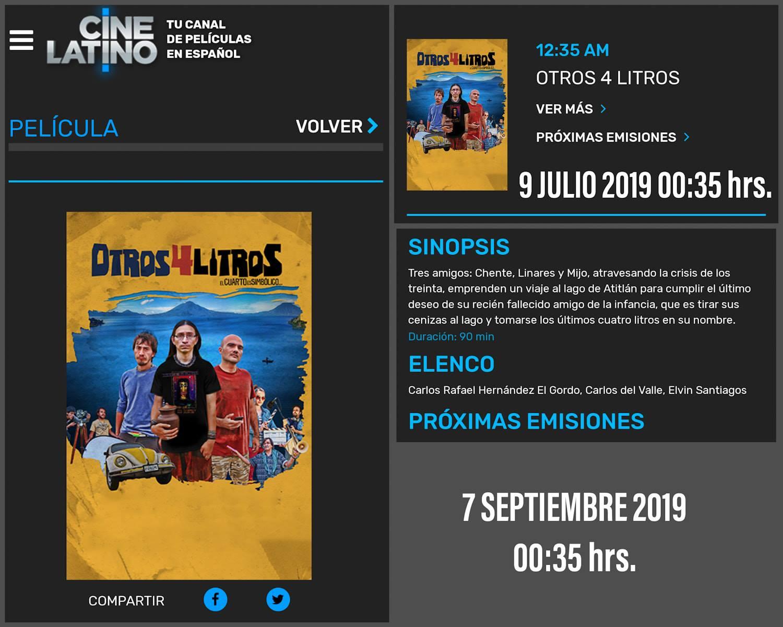 Película guatemalteca Otros Cuatro Litros fue transmitida en el canal mexicano Cine Latino